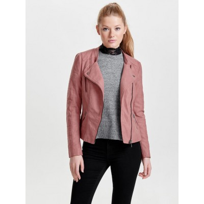Ava Only Leather Look Jacket - Ash Rose